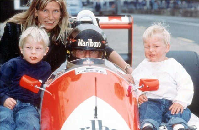 Freddie Hunt on the right, with his brother, Tom, and mother Sarah, on the left, and James Hunt behind the wheel. Source: James Hunt Archives